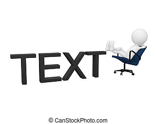 정식적인 사람, 3차원, 성격, 초상, 의, a, 실업가, 몸을 나른하게 하는, 통하고 있는, 의자, 고립된, 백색 위에서, 배경.