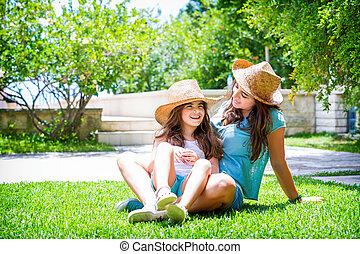 정원, 가족, 행복하다