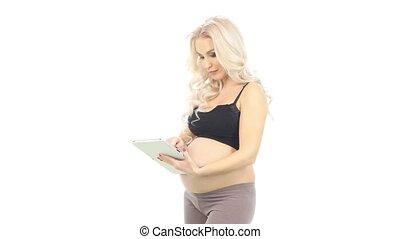 정제, 여자, 나이 적은 편의, 백색, 임신하고 있다