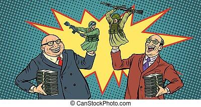 정치가, 출발, 전쟁, 치고는, 돈, concept., 실업가, 웃음, 군인, 싸움
