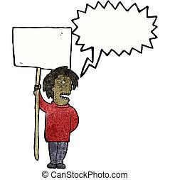 정치에 참여하는, 항의, 만화