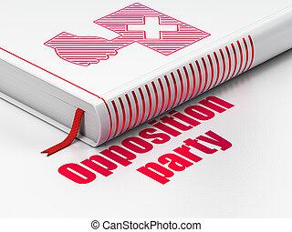 정치에 참여하는, concept:, 책, 항의, 반대, 파티, 백색 위에서, 배경