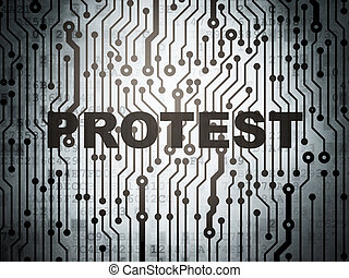 정치에 참여하는, concept:, 회로 기판, 와, 항의