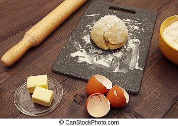 제빵용의 성분, 멍청한, 반죽, 제작, 가정, 테이블.