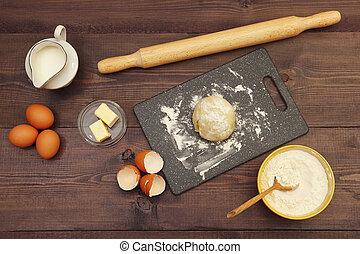 제빵용의 성분, 시골풍, 반죽, 가정, 신선한, 테이블., 제작