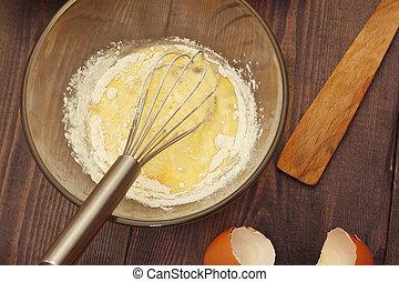 제빵용의 성분, 시골풍, 반죽, 제작, 신선한, 테이블.