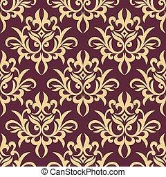 제왕의, 패턴, 꽃의, seamless, 황색