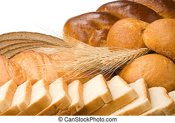 제품, 빵집, 고립된, 백색