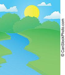 조경술을 써서 녹화하다, 강, 에서, 여름
