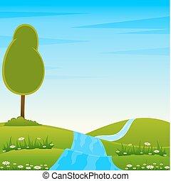 조경술을 써서 녹화하다, 와, 나무, 와..., 강