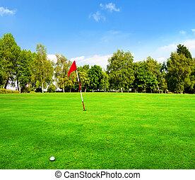 조경술을 써서 녹화하다, 의, a, 아름다운, 녹색, 골프 코스