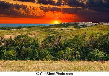 조경술을 써서 녹화하다, 일몰, 산, 하늘, 녹색의 숲, 자연, 언덕, 보이는 상태, 여름, 파랑, 풀, 나무
