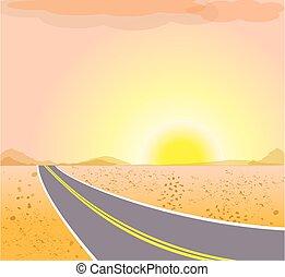 조경., 벡터, 사막, 길, sunset.