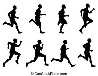 조깅, 남자, 달리기, 운동 선수, 주자, 벡터, 실루엣, 세트