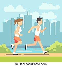 조깅, 스포츠, 사람, 운동, 달리기, 남자, 와..., woman., 벡터, 건강 관리, 개념