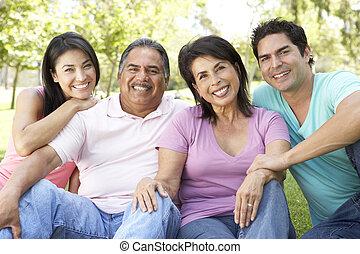 조부모, 공원, 성인 아이들