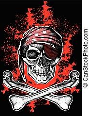 졸리 로져, a, 해적, 상징, 와, 교차하는, 뼈