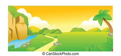 좁은 길, 위의, 녹색의 풍경, 와..., 호수