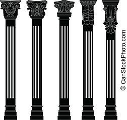 종대, 고물, 기둥, 구식의, 늙은