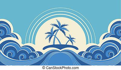 종려, 섬, 떼어내다, 삽화, 열대적인, 벡터, 바다, waves.