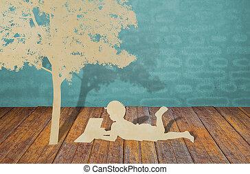 종이, 공급 절감, 의, 아이들, 읽다, a, 책, 억압되어, 나무