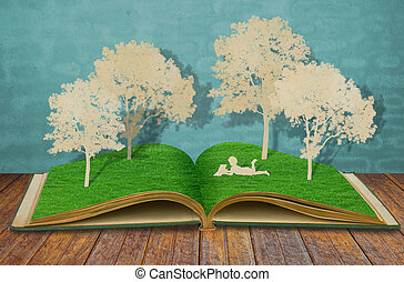 종이, 공급 절감, 의, 아이들, 읽다, a, 책, 억압되어, 나무, 통하고 있는, 늙은, 책