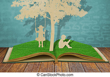 종이, 공급 절감, 의, 아이들, 읽다, a, 책, 와..., 아이들, 통하고 있는, 그네, 억압되어, 나무