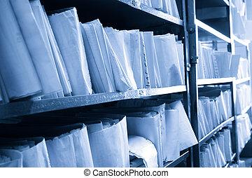 종이, 문서, 겹쳐 쌓이는, 에서, 기록 보관소