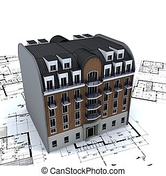 주거다, 건물, 의 위에, 건축가, 청사진
