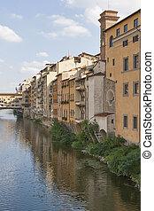 주거다, 건물, 접하여, 다리, ponte vecchio, 에서, 피렌체