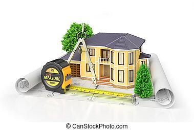 주거다, 집, 와, 도구, 통하고 있는, 건축가, blueprints., 주택, project., 3차원, 삽화