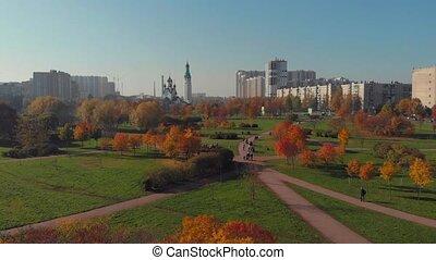 주거 인근, 에서, 큰 도시, 걷기, 넓은 가로수길, 길, 와..., 푸른 잎