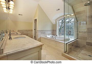 주인, 목욕, 에서, 새로운, 해석, 가정