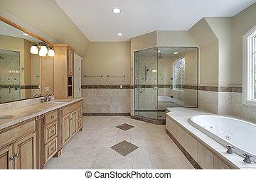 주인, 목욕, 와, 유리, 샤워