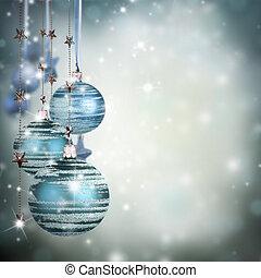 주제, 원본, 공간, 파랑, 비어 있는, 공, 크리스마스, 유리