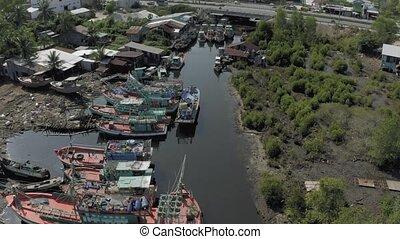 주차, 발사, 강, 아시아, 어업, 수펄, 보트, 4k
