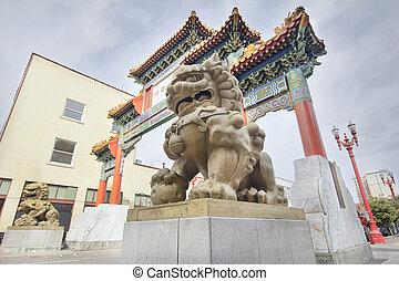 중국어, chinatown, 오레곤, 한 쌍, 문, 포틀랜드, foo, 개