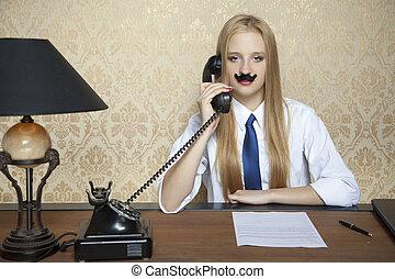 중대한, 여자 실업가, 와..., a, 새로운, 계약, 통하고 있는, 그만큼, 책상