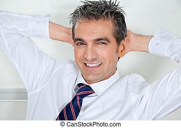 중앙의 성인, 실업가, 몸을 나른하게 하는, 와, 머리뒤에손