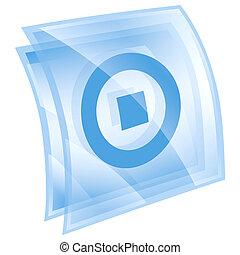 중지, 아이콘, 파랑, 고립된, 백색 위에서, 배경.