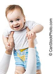 즐거운, 아기, 은 위로 던진다, 통하고 있는, 손