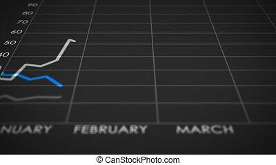증권 거래소, 그래프, 은 올리고 떨어뜨린다