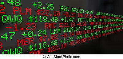 증권 거래소, 시계, 가격, 스크롤하는 것, 배경, 3차원, 삽화