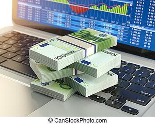 증권 거래소, 온라인의, 사업, concept., 꾸러미, 의, 유러, 통하고 있는, 휴대용 퍼스널 컴퓨터 키보드, 와, 증권 거래소, 숯, 통하고 있는, 그만큼, screen.