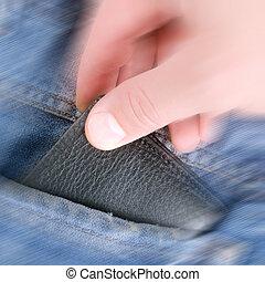 지갑, 에서, 손