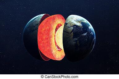 지구의 중심핵, structure., 성분, 의, 이것, 심상, 공급된다, 얼마 만큼, nasa