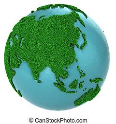 지구, 부분, 풀, 물, 아시아