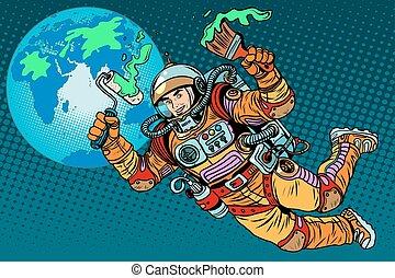 지구, 생태학, 녹색, 일, 우주 비행사