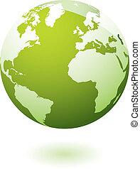 지구, 아이콘, 녹색, 젤라틴