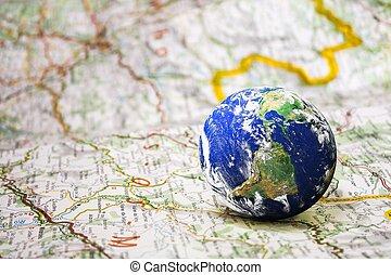 지구, 통하고 있는, 도로 지도, 배경, 여행, 개념